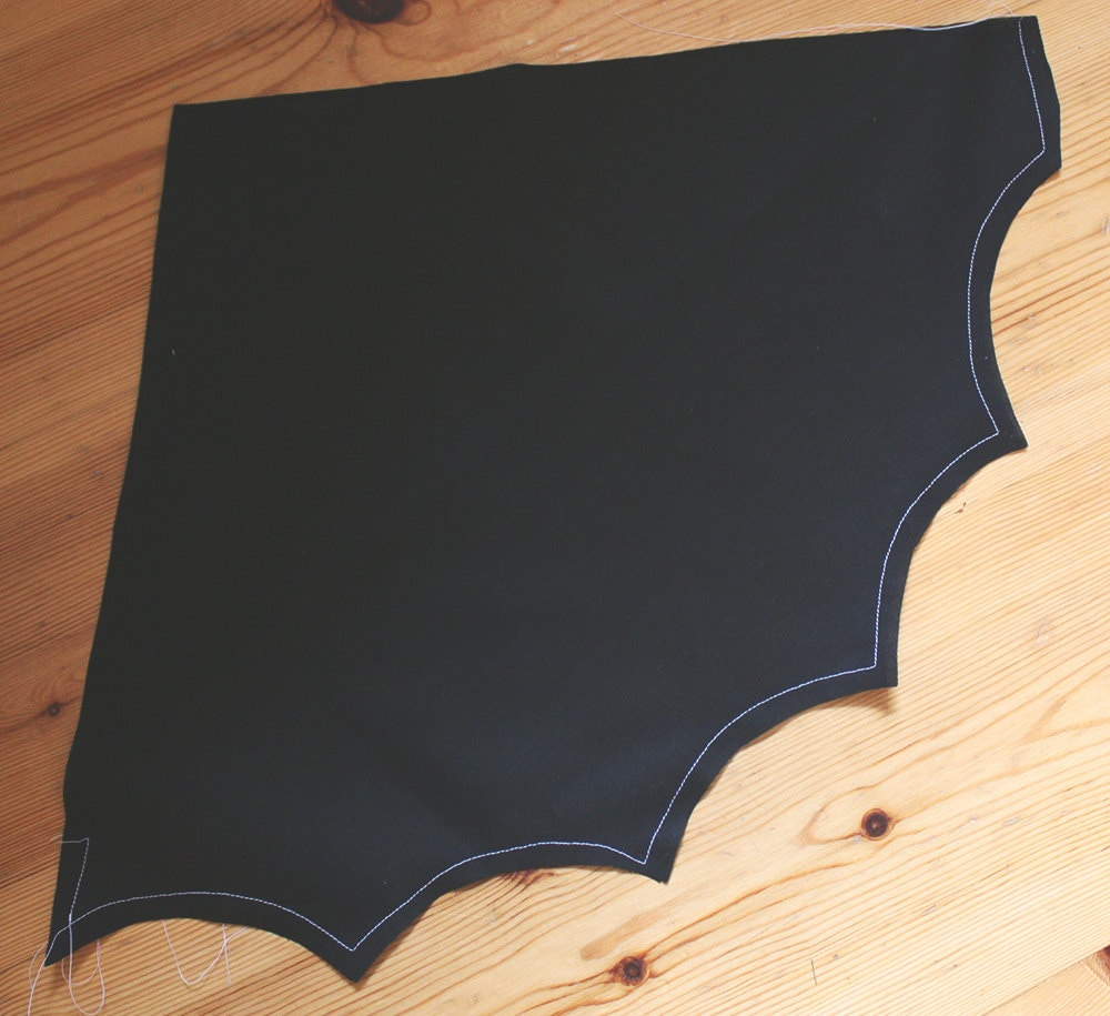 The sewn wings of a DIY bat costume