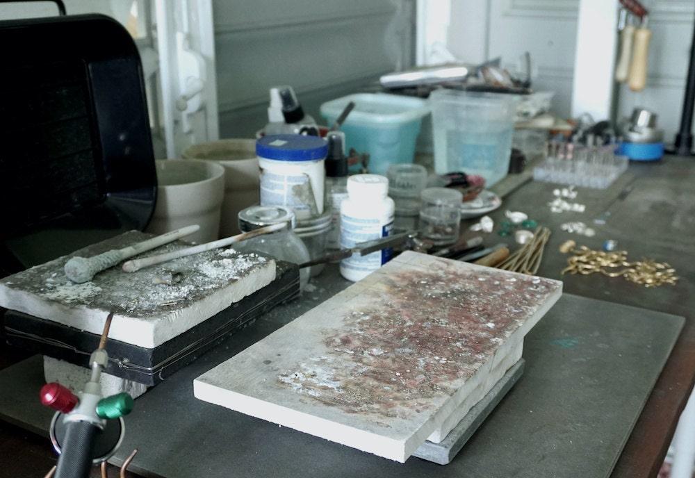 Aleishla's workstation in her Puerto Rico studio