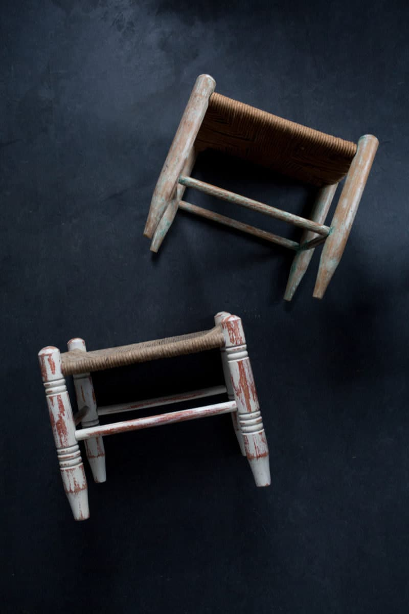 Original vintage stools with woven seats, ready to be upcycled