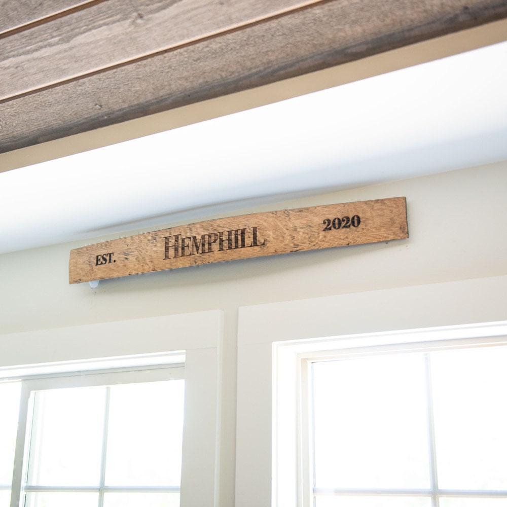 A personalized wooden family name sign from Holtz Leather Co.