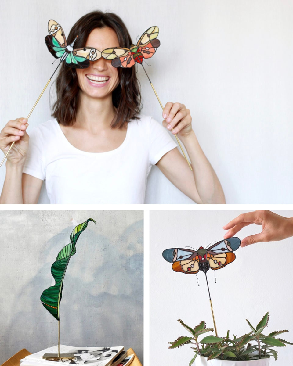 Portrait of stained-glass artist Elena Zaycman collaged with a few of her nature-inspired designs.