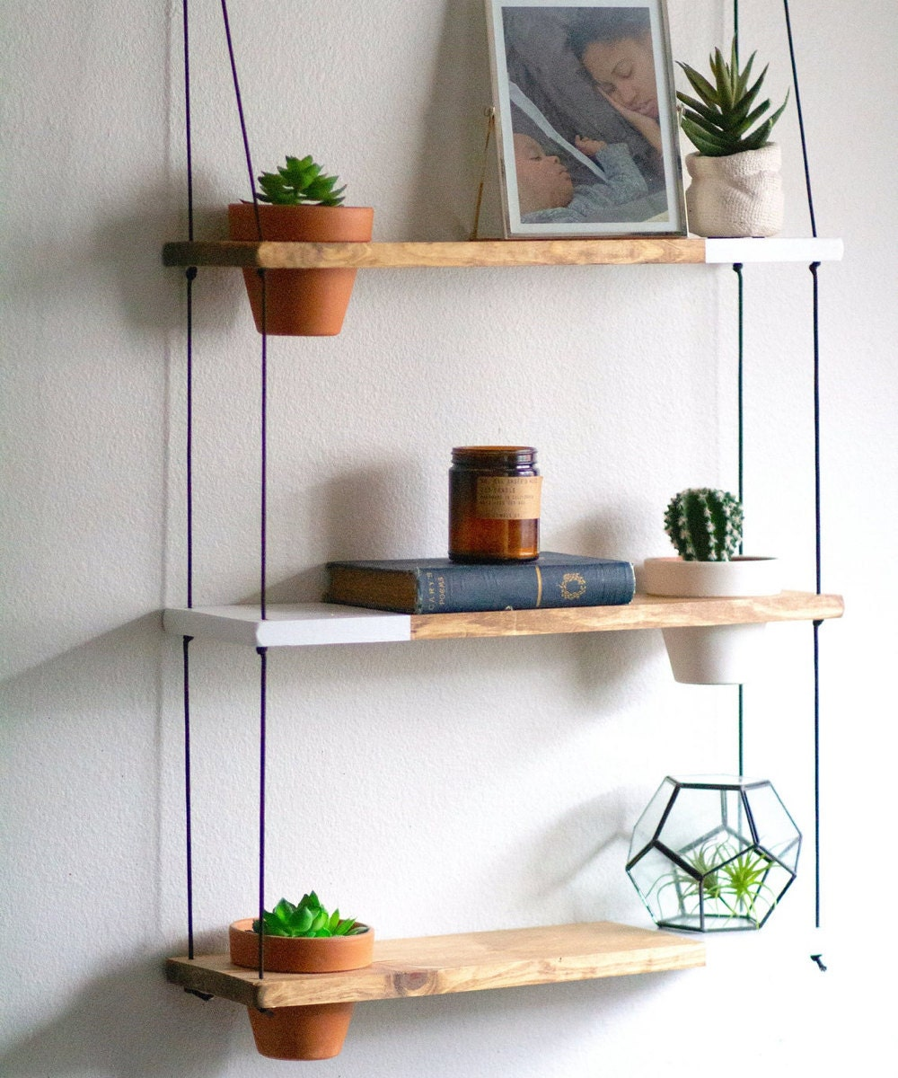 Two-tone trio hanging shelf from TheCraftySwirl, $85