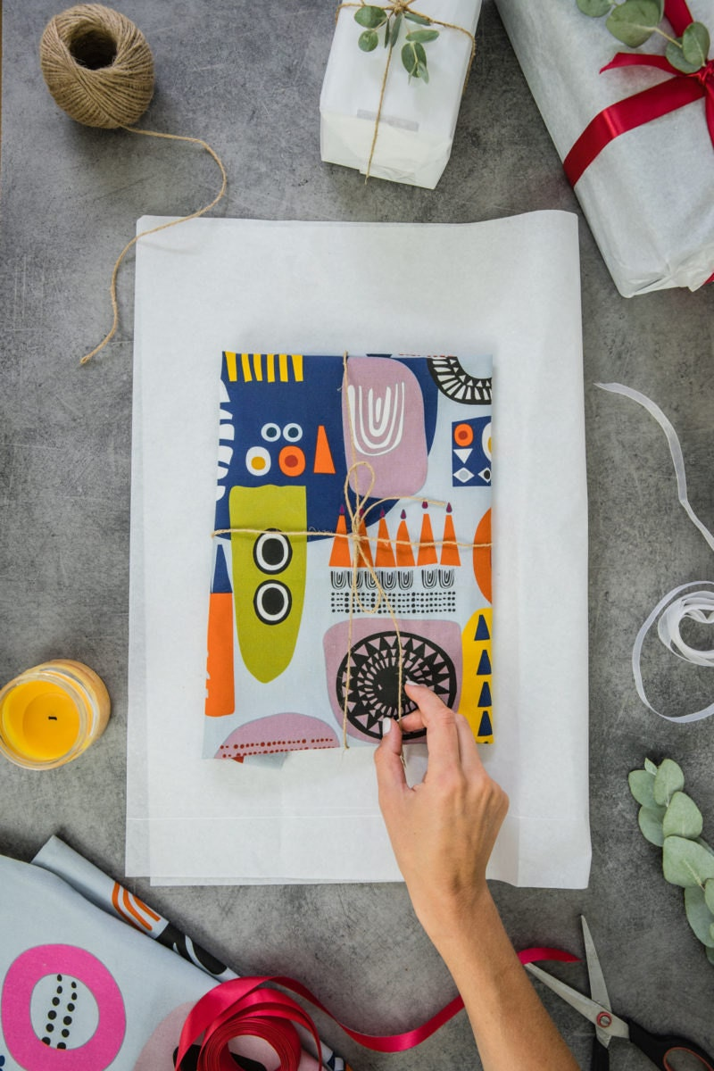 An abstract shapes tea towel from Softer and Wild