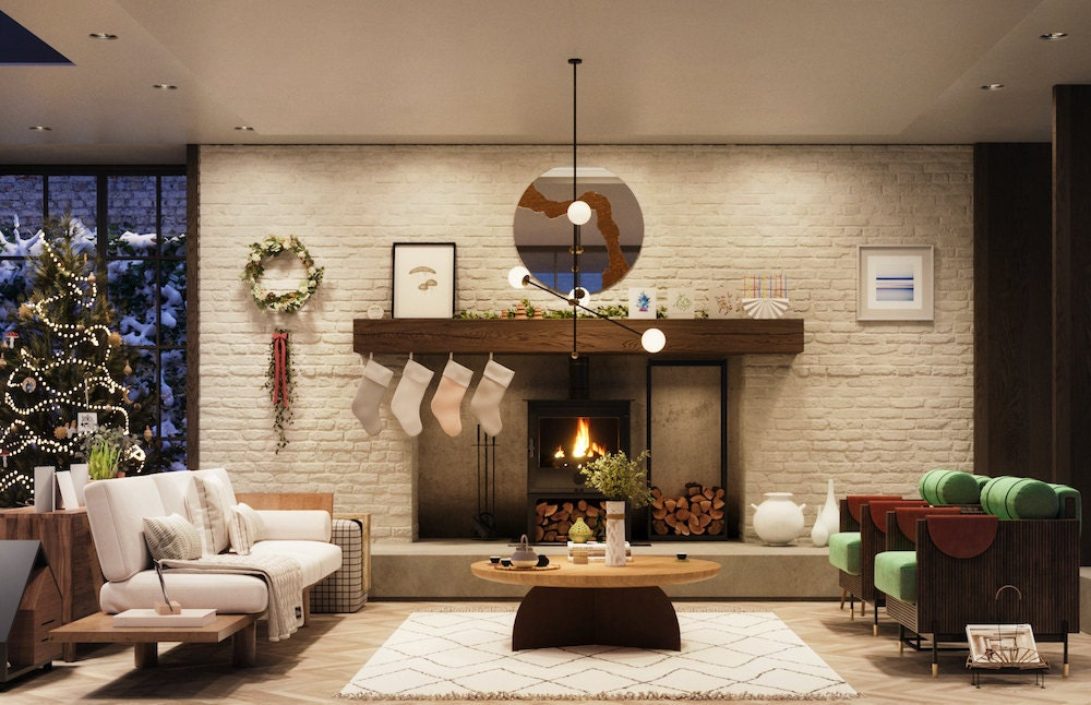A still image of the living room in Etsy's Virtual Holiday House