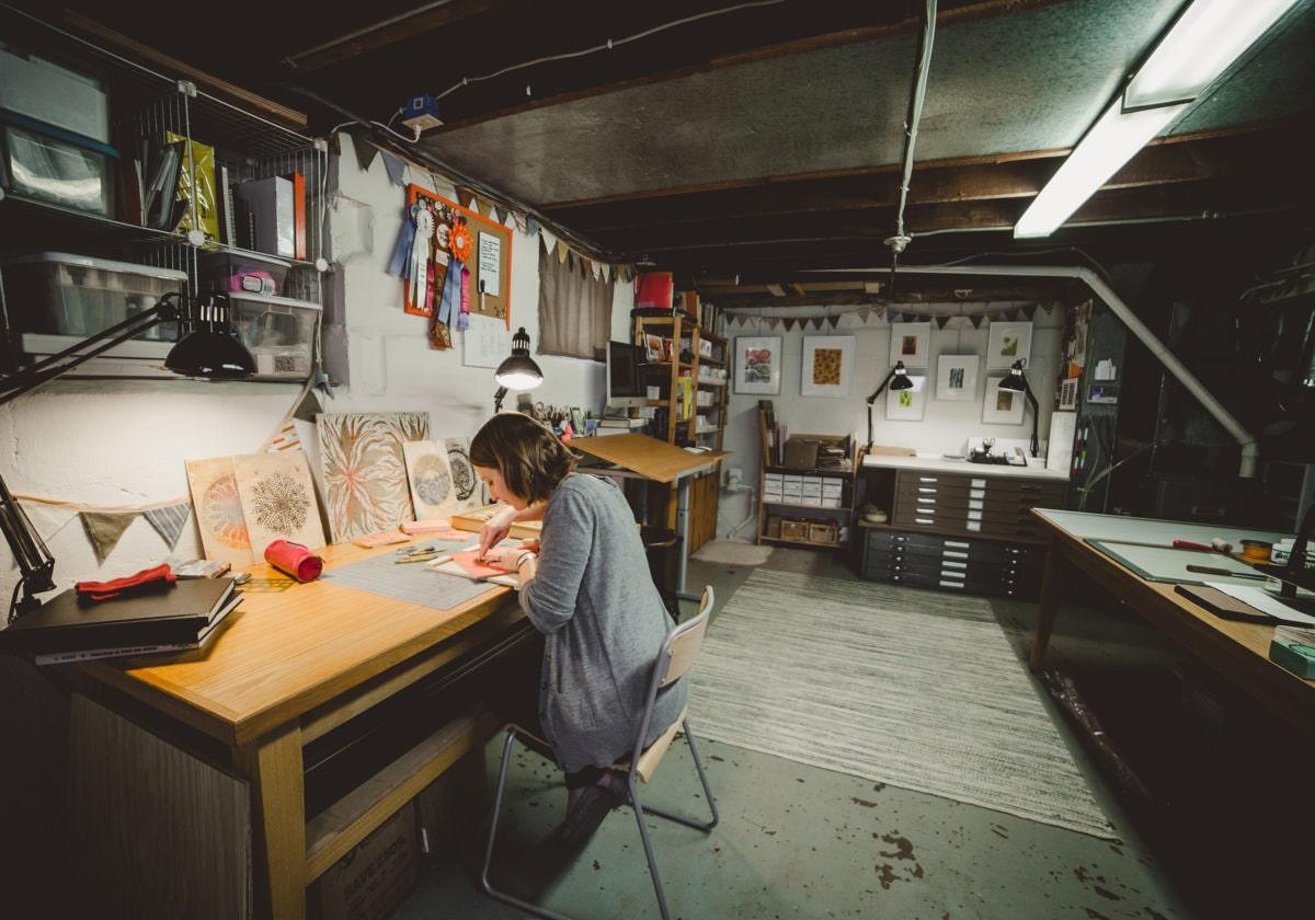 Home studio basement print shop