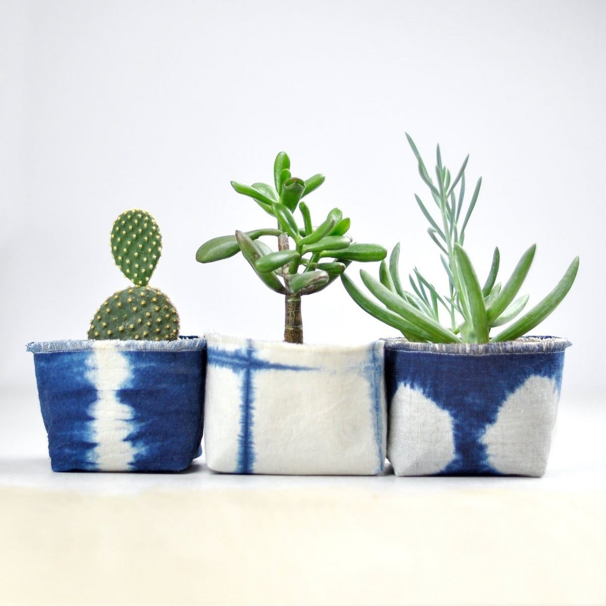 Tie-dyed fabric pots from Etsy