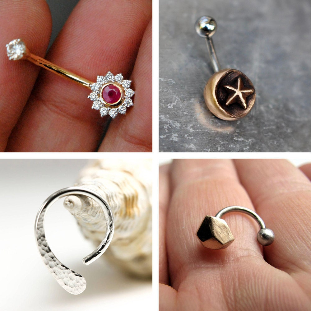 A collage of belly button rings available on Etsy