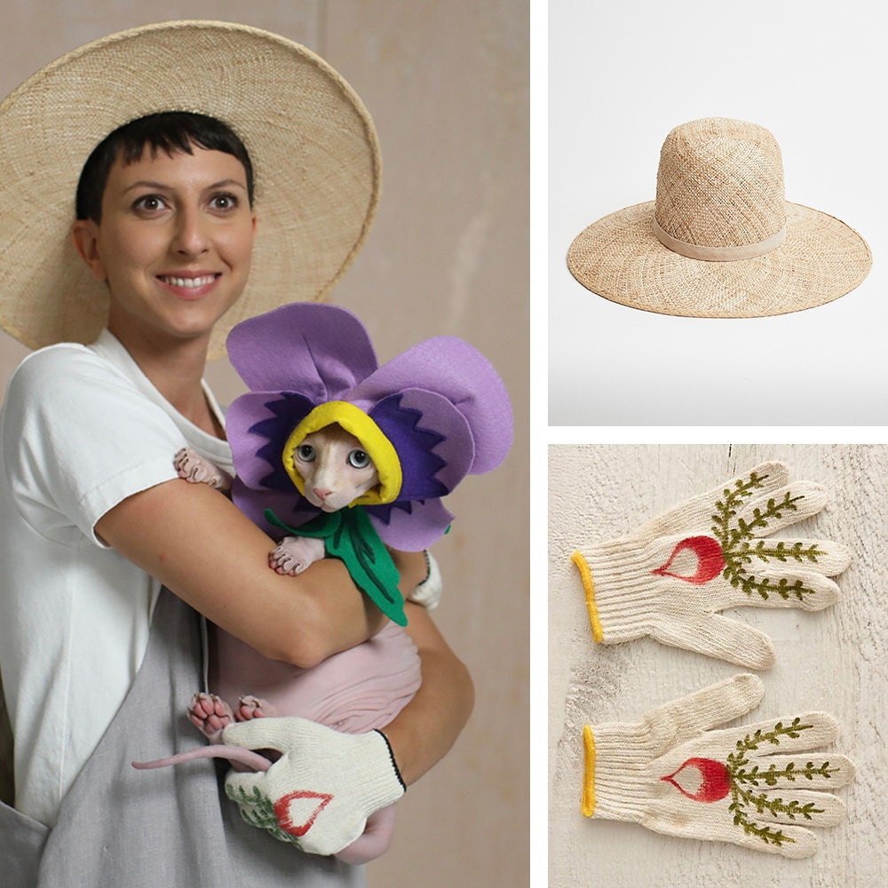 """A collage of items needed for a """"plant parent"""" cat + human Halloween costume."""