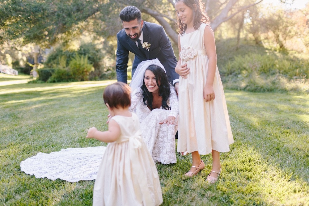 Talisa and David with their daughters on their wedding day