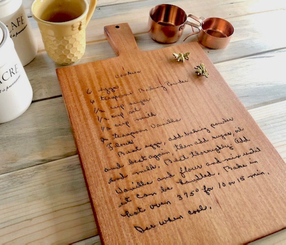 A custom recipe cutting board from BE Engraved on Etsy