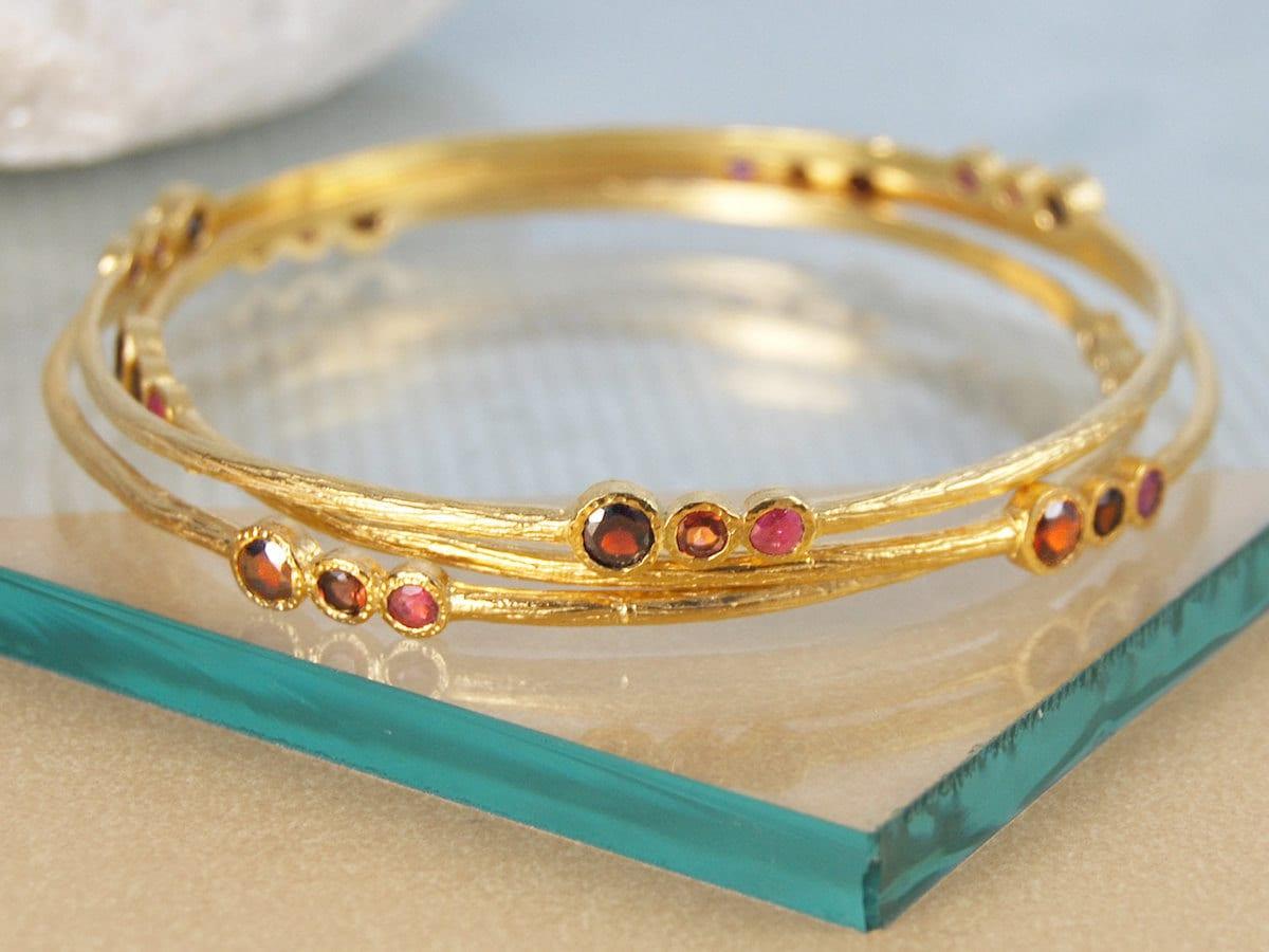 Ruby and garnet bangle from Embers Gemstone Jewellery
