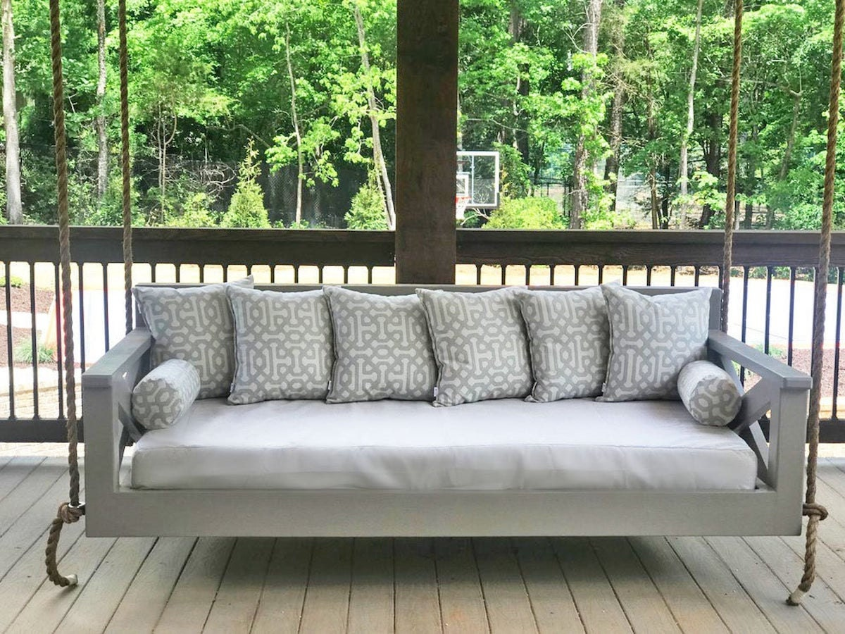 Custom porch cushion cover from Patio Lane, on sale for summer from Etsy