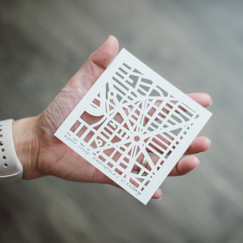 Curated image with Miniature hand-cut paper map from Studio KMO, $75