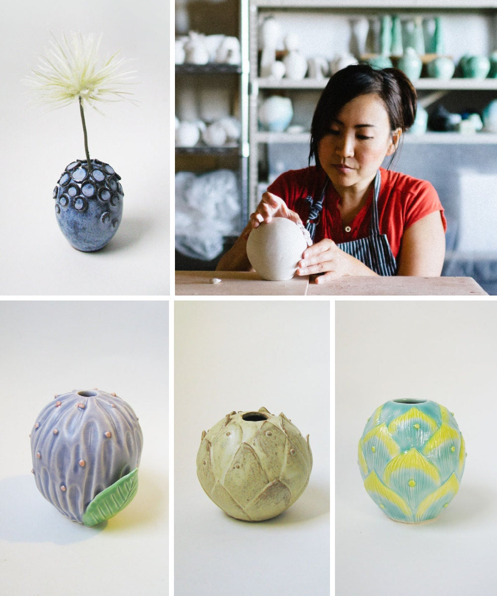 A collage of pottery from Echo of Nature including a portrait of shop owner Yumiko Goto.