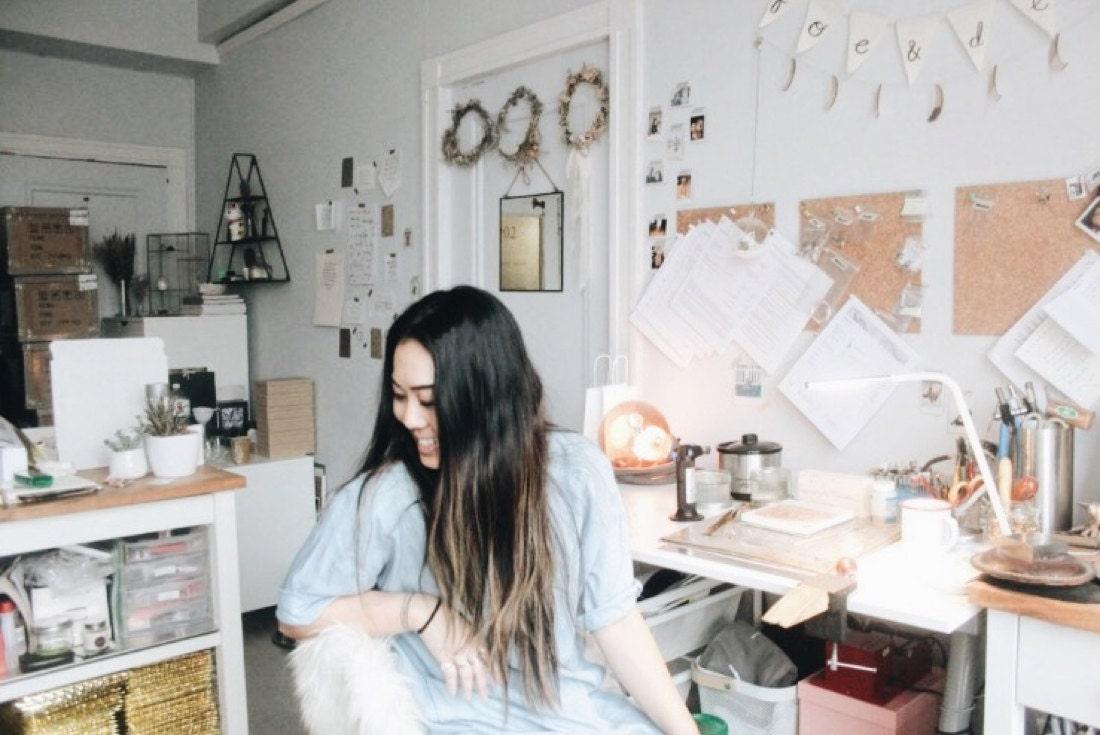 Katherine at her desk in her Vancouver workshop.