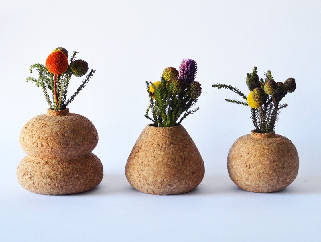 Three cork bud vases in assorted shapes from Melanie Abrantes