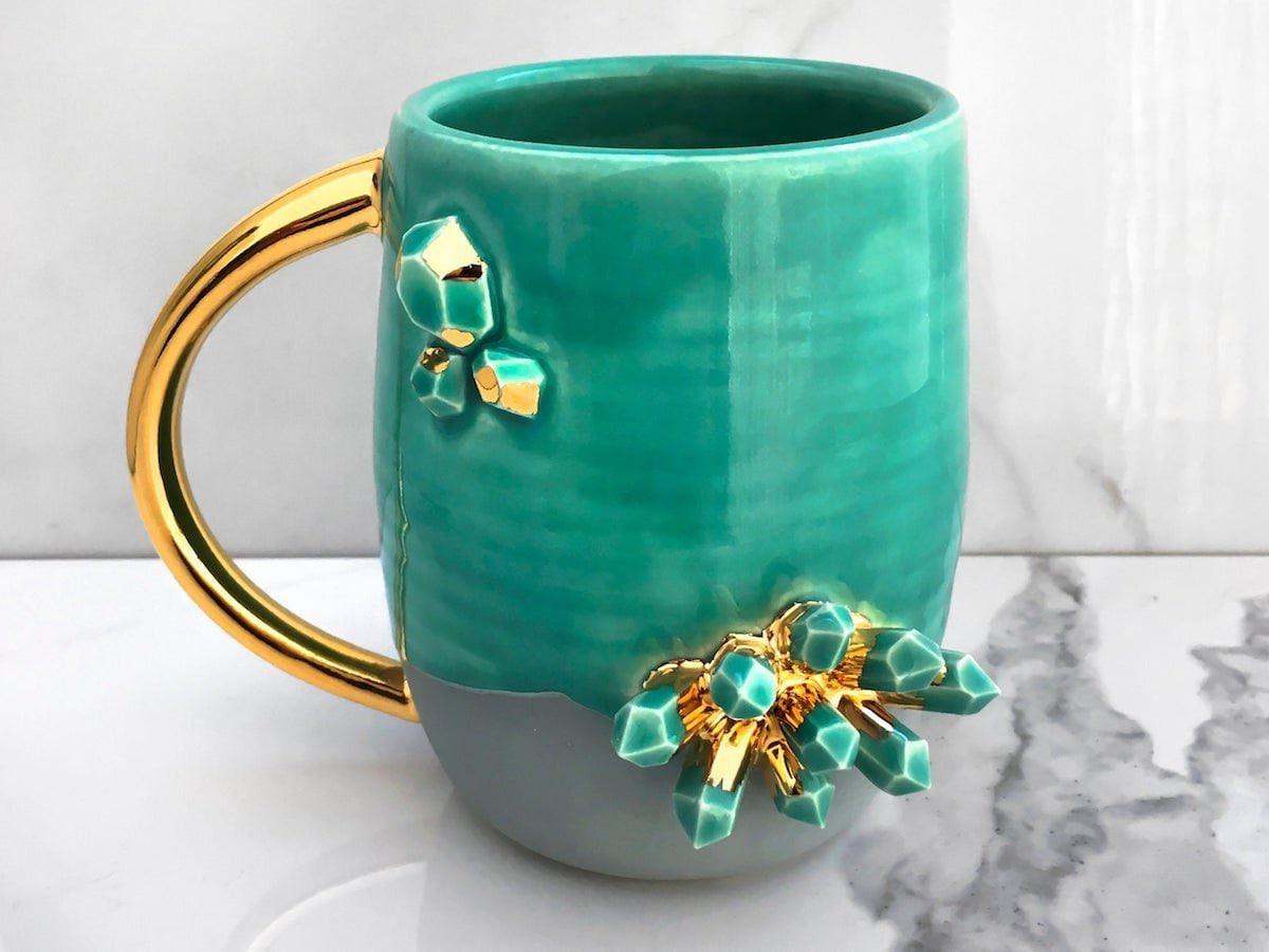 A crystal-studded mug from Modern Mud