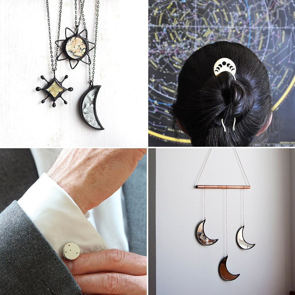Collage of celestial-themed Etsy items: necklaces, a hair fork, a wall hanging, and custom constellation cufflinks
