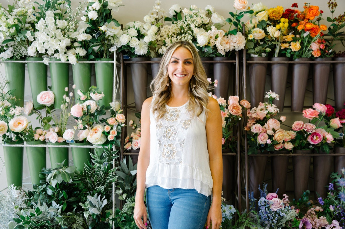 Portrait of The Faux Bouquets owner Brittany Kinney in her Redlands, CA storefront