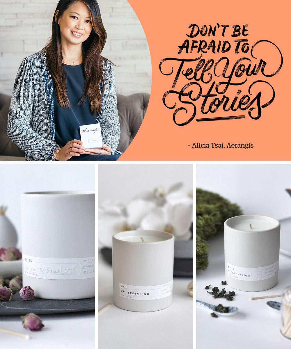 """A collage of candles from Aerangis including portrait of the seller alongside a hand-lettered quote that reads """"Don't be afraid to tell your stories."""""""