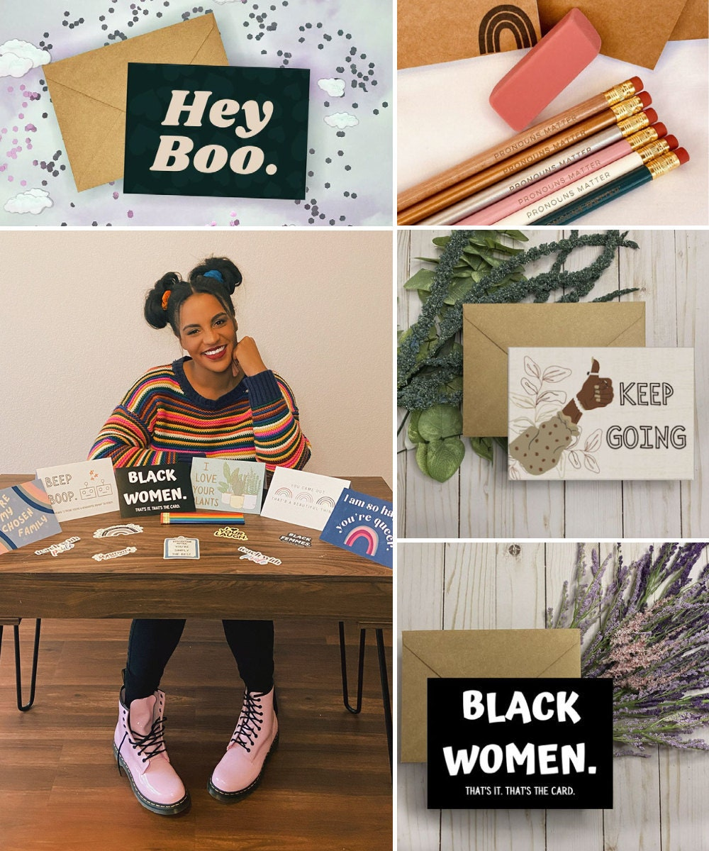 A collage of pencils and greeting cards from If Pencils Could Talk featured alongside a portrait of designer Tamara Moore.