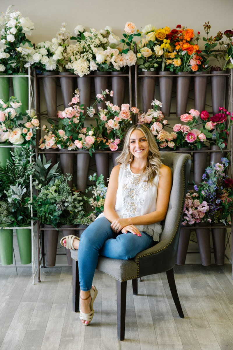 Portrait of Faux Bouquets owner Brittany Kinney in her Redlands, CA storefront