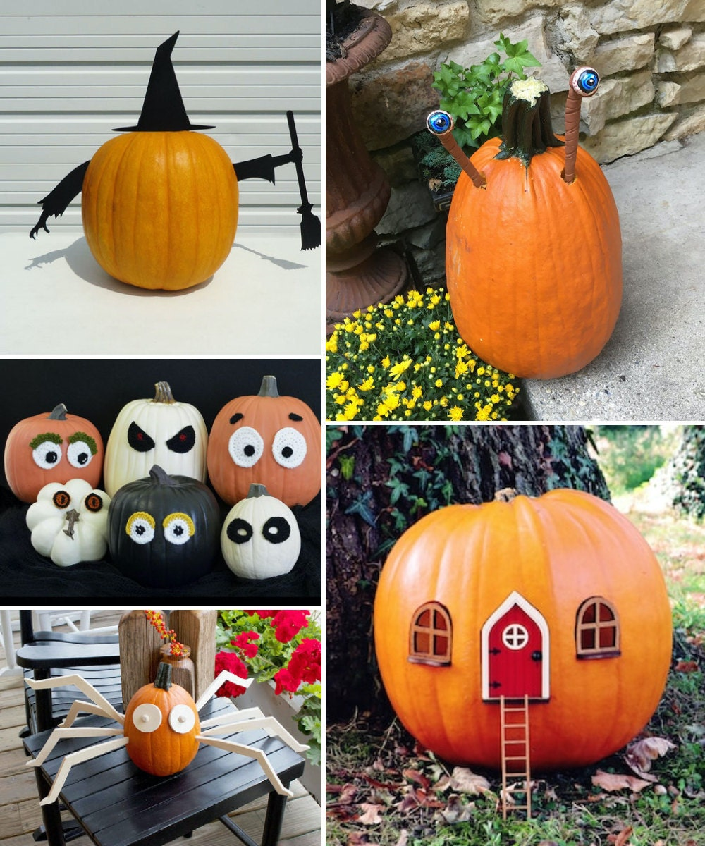 Pumpkin push-in accessories and decorating kits from Etsy