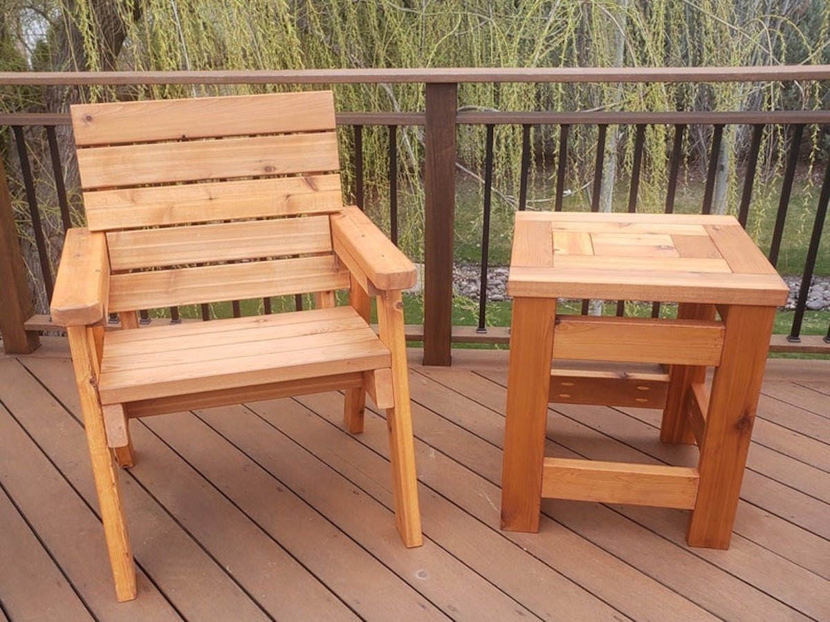 Cedar chair from JD2 Wood, on sale for summer at Etsy