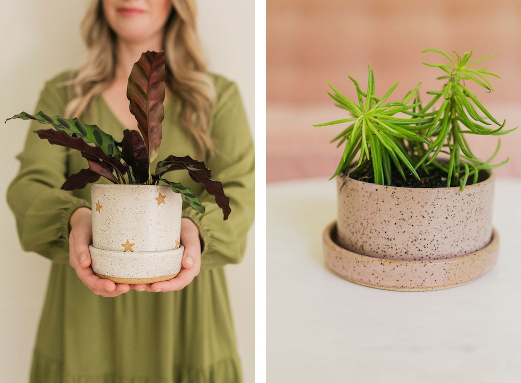 Assorted planters from the A Beautiful Mess x Etsy collection