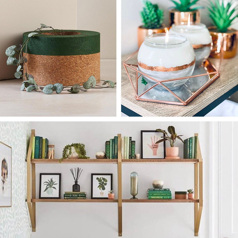 A collage of shelving and decorative objects from the Real Simple Home, available to purchase on Etsy.