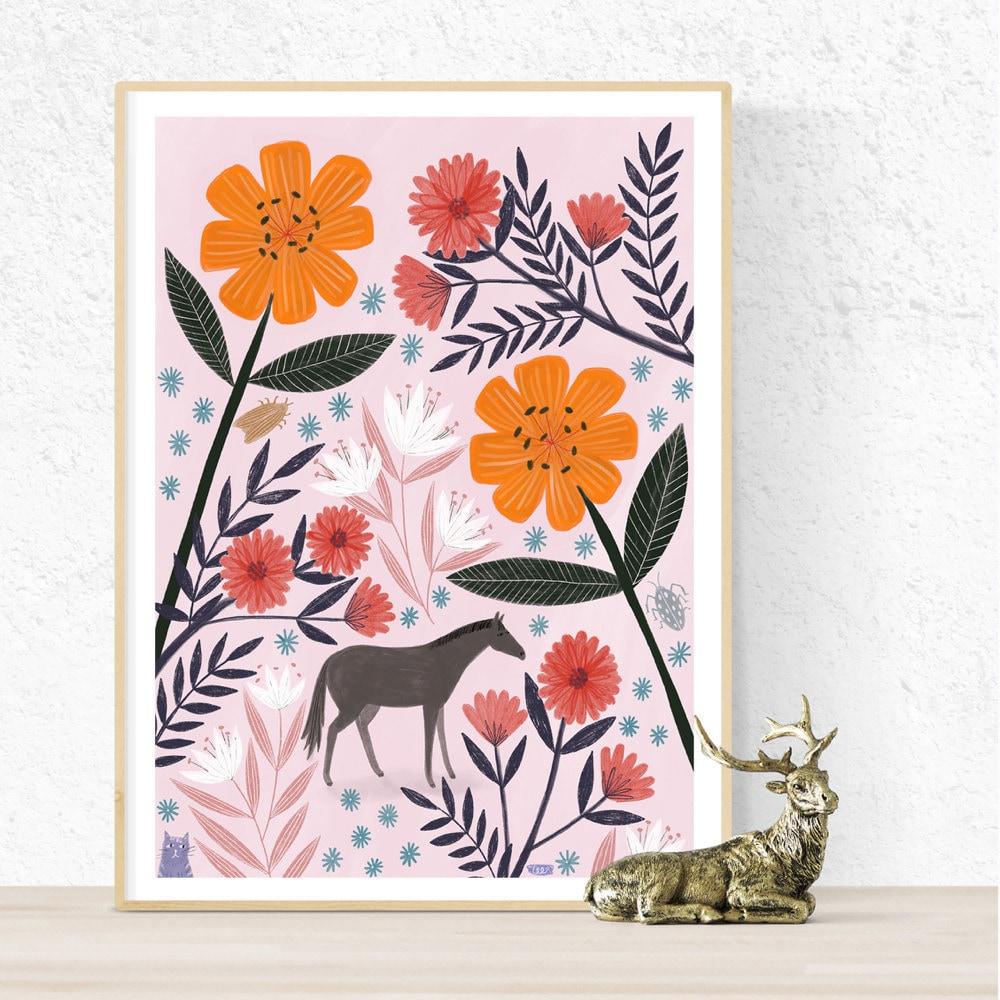 Tiny horse art print from Bonbi Forest.