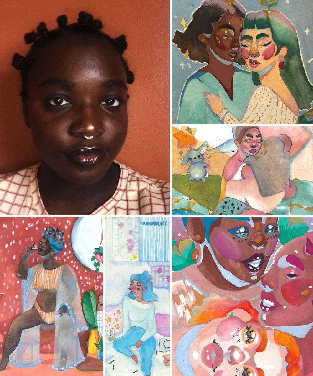 A collage of art prints from Chiommani pictured alongside a portrait of artist Chiomma Imani Hall.