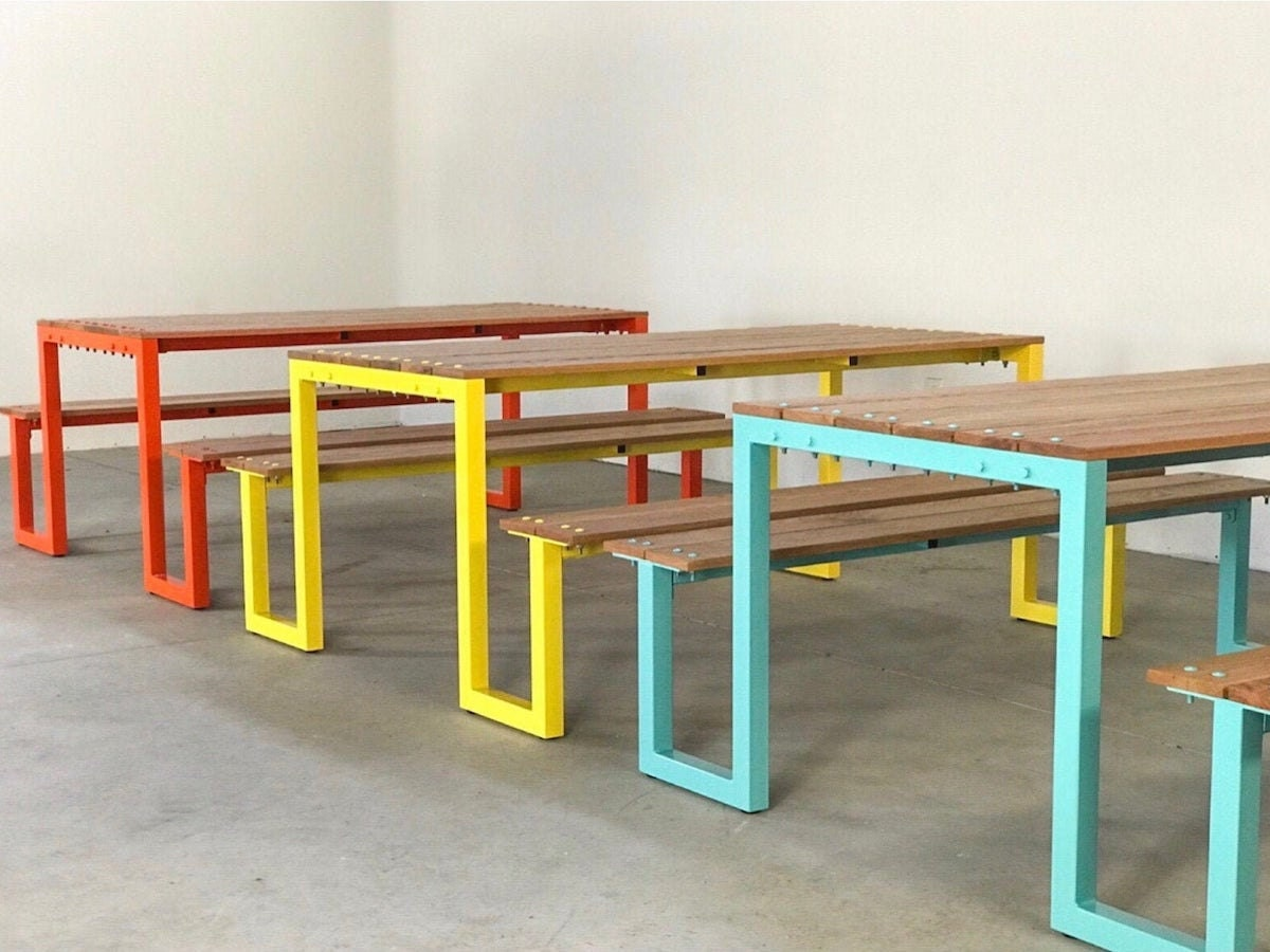 Custom picnic table from Kage Design Studio, on sale for summer at Etsy