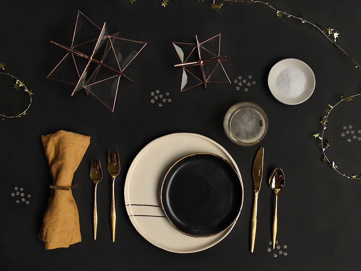 A celestial-themed tablescape