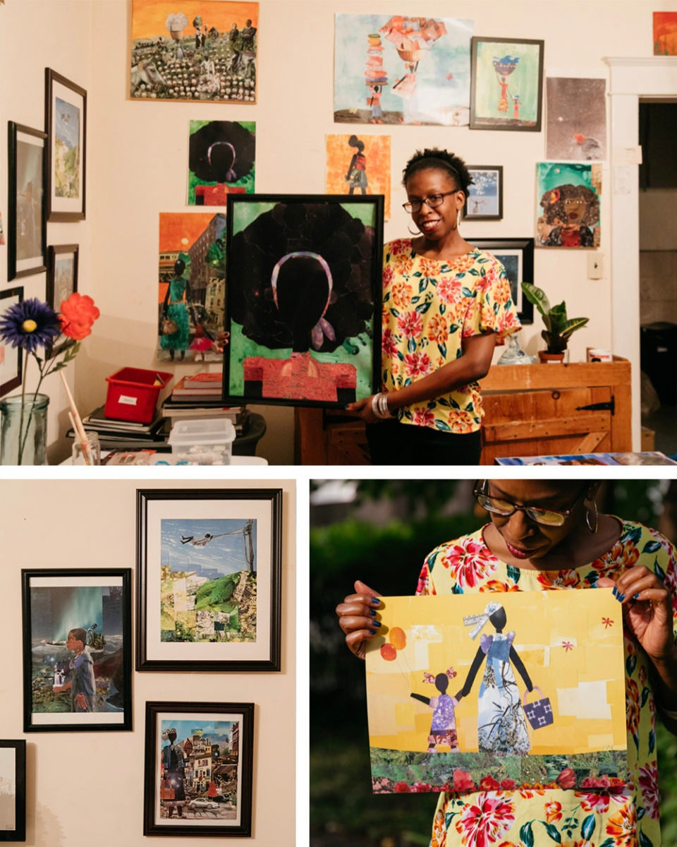 A portrait of collage artist Mirlande Jean-Gilles collaged with pieces from her collection