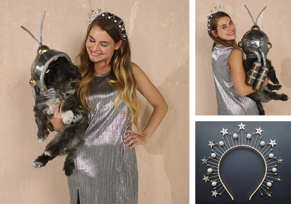"""A collage of items needed for a """"space explorers"""" dog + human Halloween costume."""