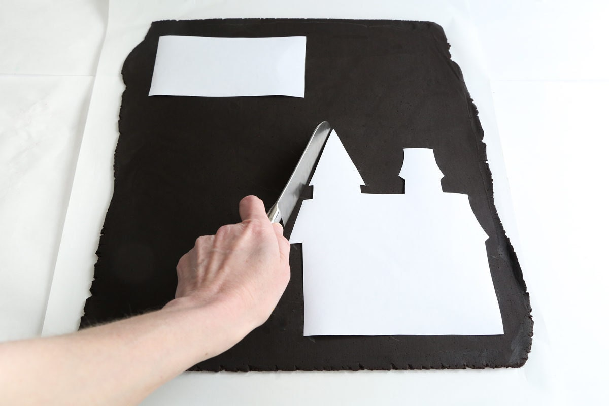 Cutting around the castle template.