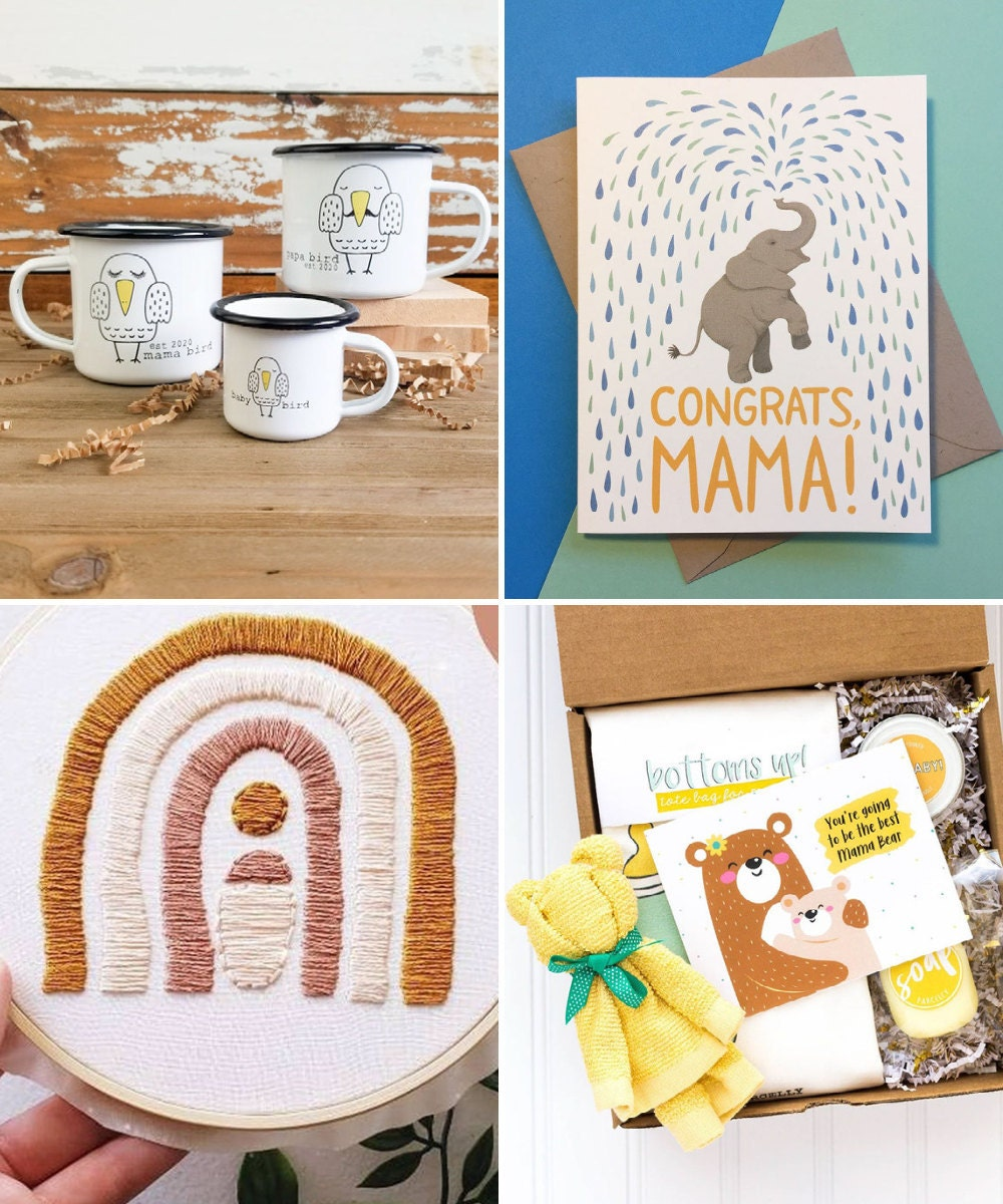 A collage of gifts for expecting moms available on Etsy.