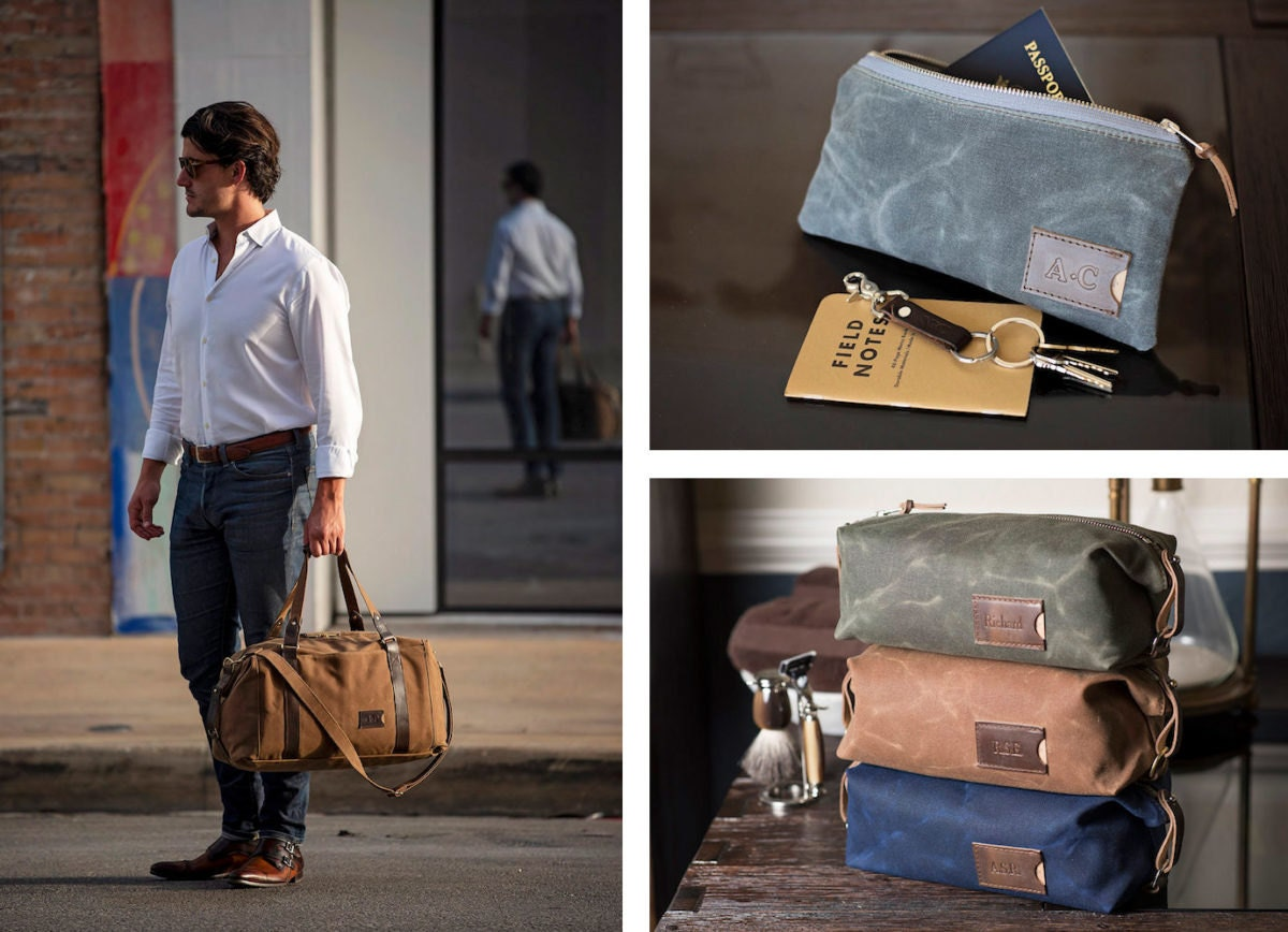 Waxed canvas weekender bag, waxed canvas zipper pouch, personalized dopp kits, all from Clark & Taft Crafting Company