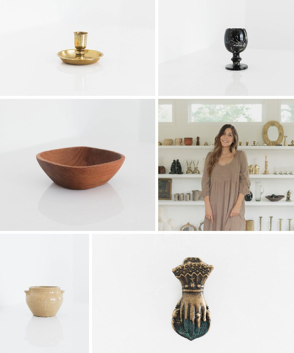 A collage of vintage home decor from Otherwise Shoppe on Etsy.