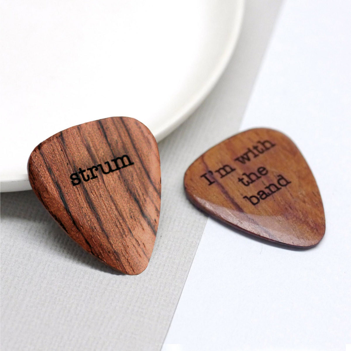 Wooden guitar pick from Maria Allen Boutique, on Etsy