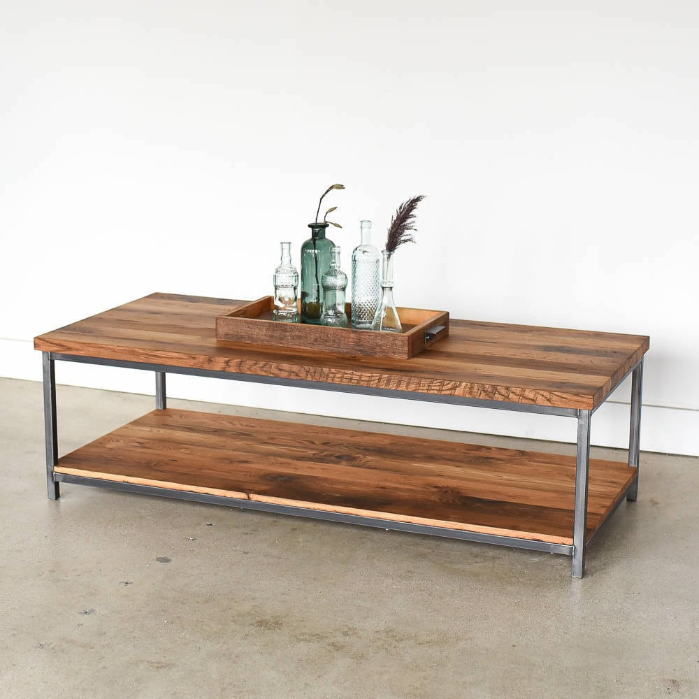 Reclaimed wood coffee table with lower shelf from What WE Make