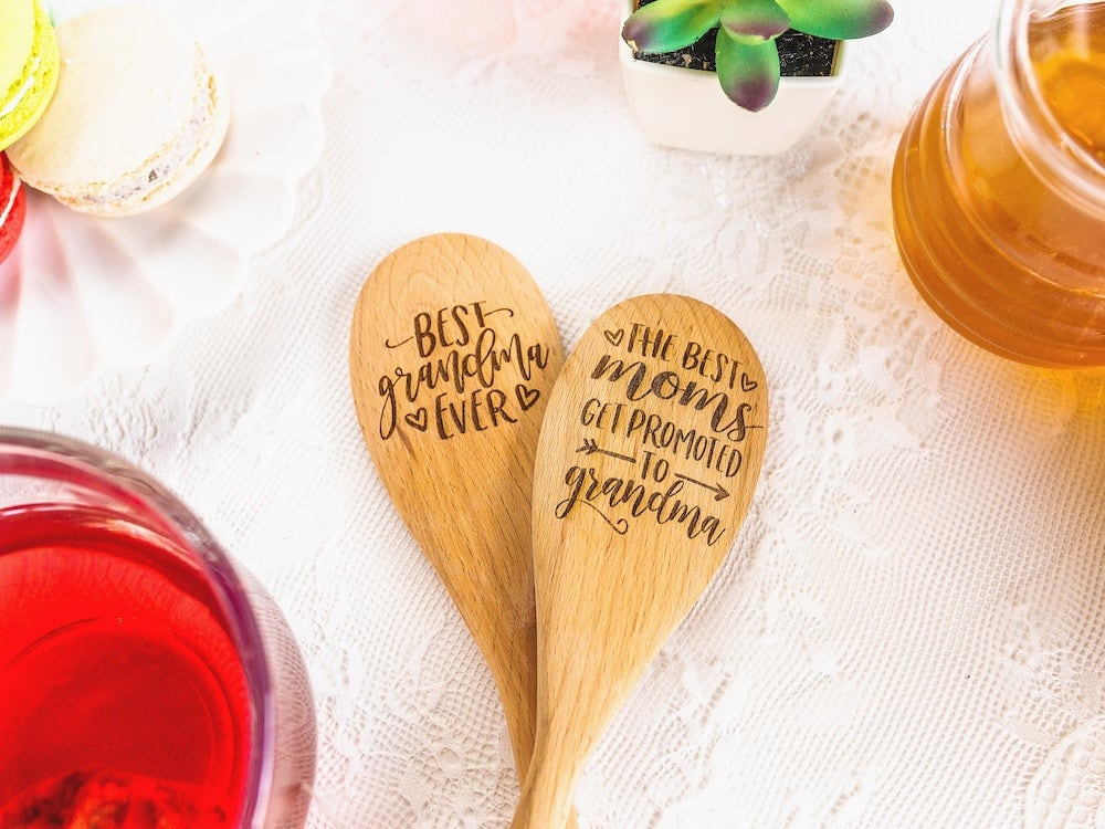 Engraved wooden spoons from A Few Spare Moments