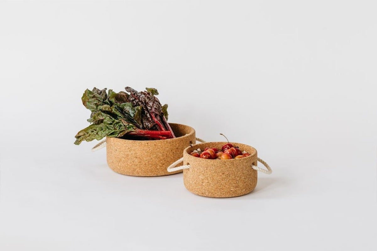 Cork bowl with rope handles from Melanie Abrantes