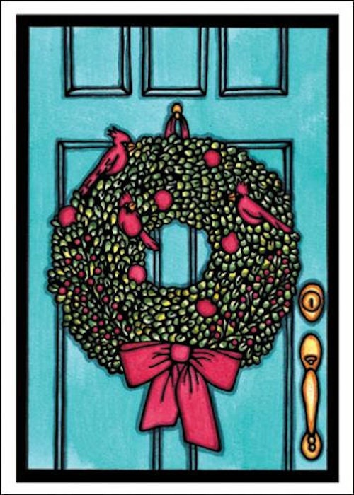 Wreath holiday card from Sarah Angst Art