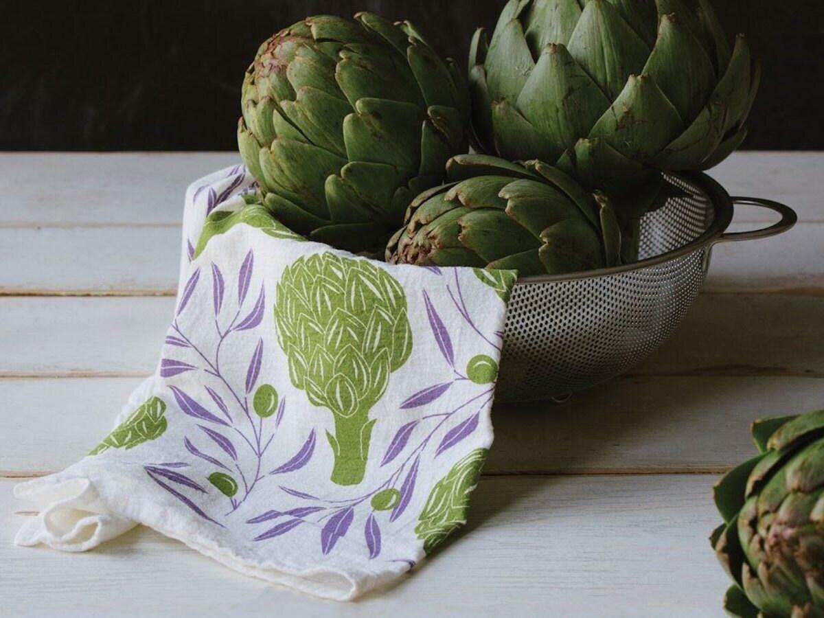 Screenprinted tea towel featuring hand-illustrated artichokes
