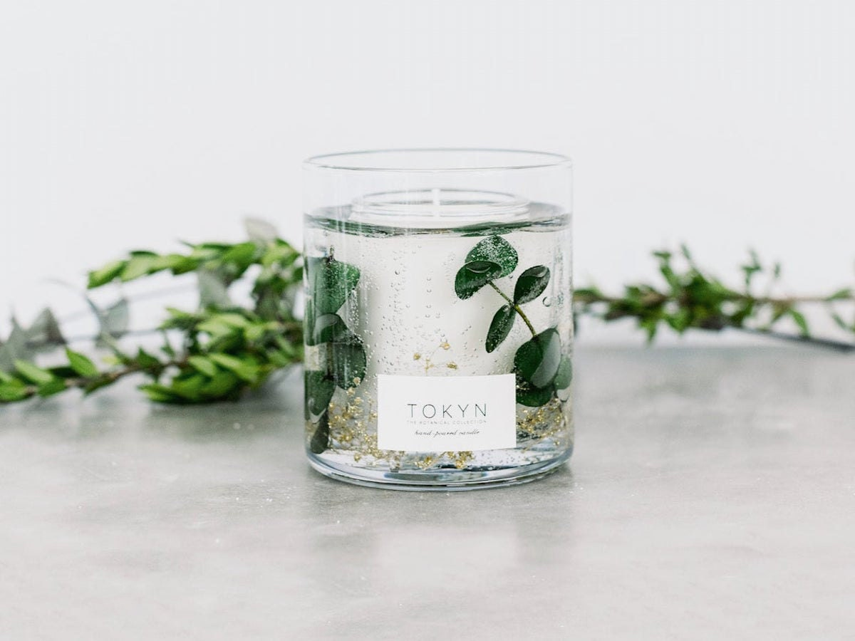 A forest-scented candle from Tokyn Candles