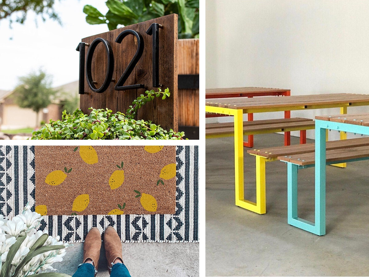 Collage of on-sale outdoor finds from Etsy