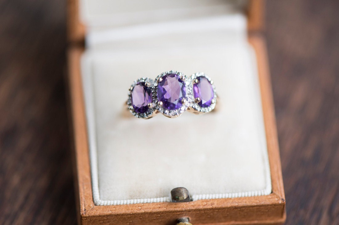 An amethyst and diamond statement ring from KK Vintage Collection