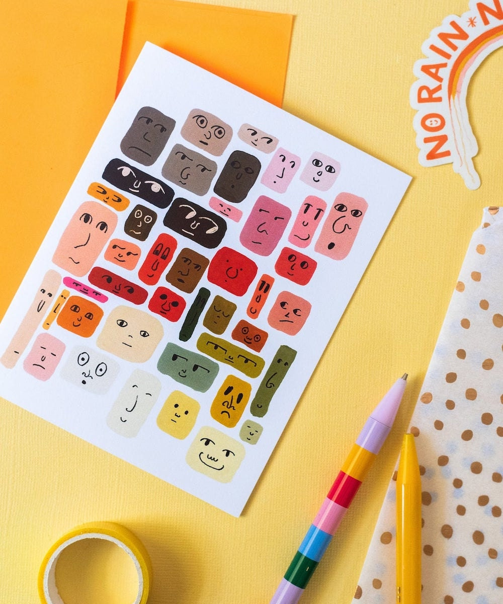 Illustrated face notecards from Maile Lani on Etsy